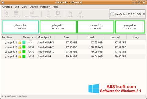 צילום מסך GParted Windows 8.1