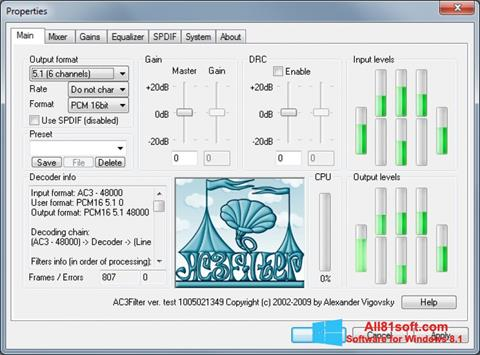 צילום מסך AC3Filter Windows 8.1