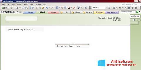 צילום מסך Microsoft OneNote Windows 8.1