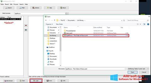 צילום מסך ArtMoney Windows 8.1