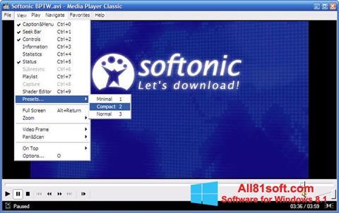 צילום מסך Media Player Classic Windows 8.1