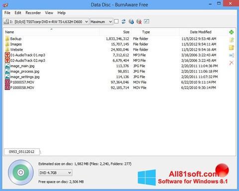 צילום מסך BurnAware Free Windows 8.1