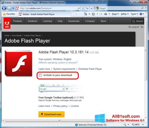 צילום מסך Adobe Flash Player Windows 8.1