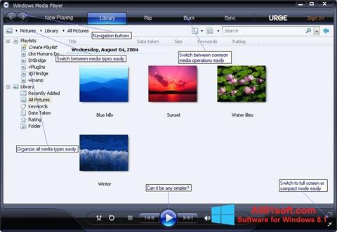 צילום מסך Media Player Windows 8.1