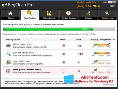 צילום מסך RegClean Pro Windows 8.1