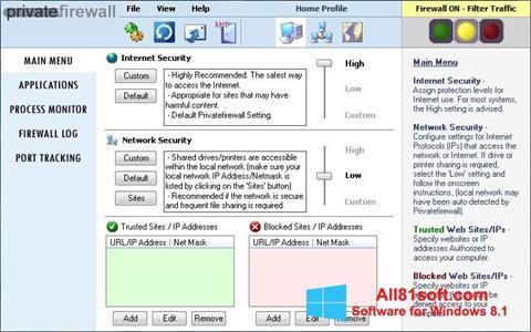 צילום מסך Privatefirewall Windows 8.1
