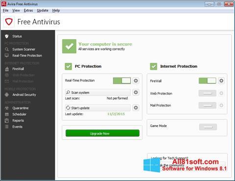 צילום מסך Avira Free Antivirus Windows 8.1