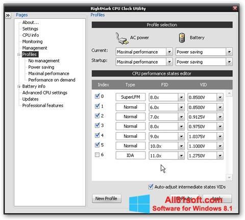 צילום מסך RMClock Windows 8.1