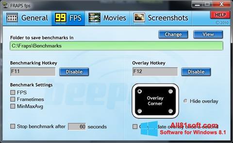 צילום מסך Fraps Windows 8.1