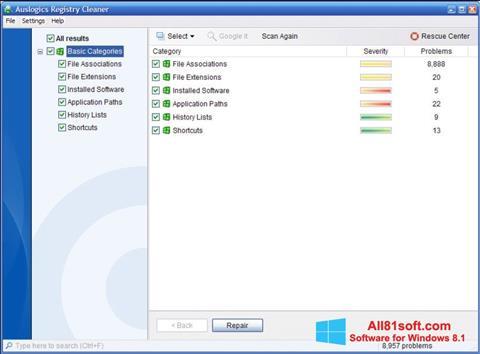 צילום מסך Auslogics Registry Cleaner Windows 8.1
