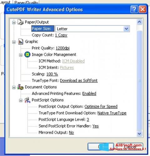 צילום מסך CutePDF Writer Windows 8.1