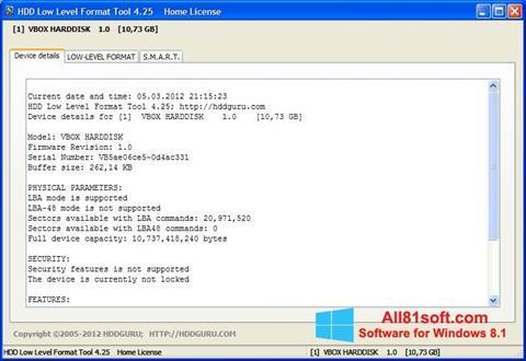 צילום מסך HDD Low Level Format Tool Windows 8.1