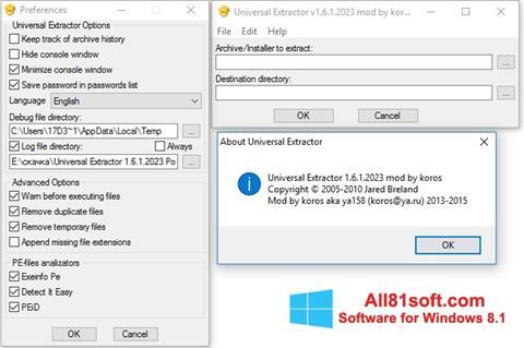 צילום מסך Universal Extractor Windows 8.1