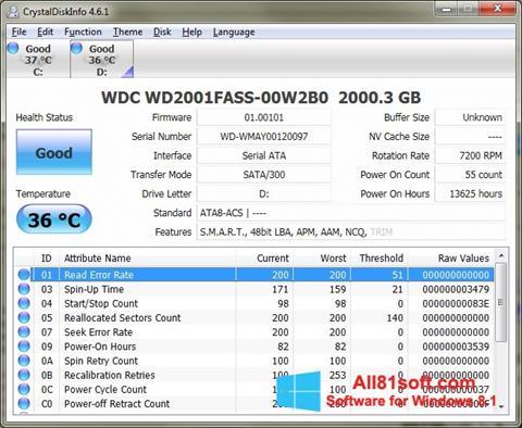 צילום מסך CrystalDiskInfo Windows 8.1