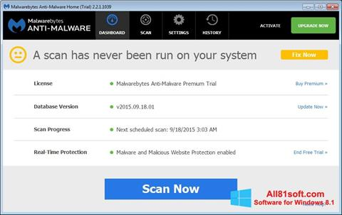 צילום מסך Malwarebytes Anti-Malware Free Windows 8.1
