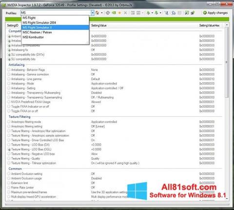 צילום מסך NVIDIA Inspector Windows 8.1
