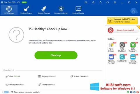 צילום מסך Wise Care 365 Windows 8.1
