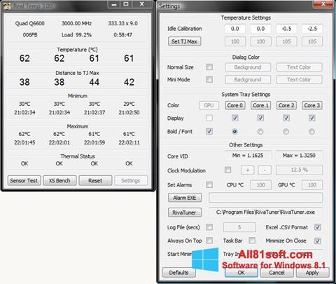 צילום מסך Real Temp Windows 8.1