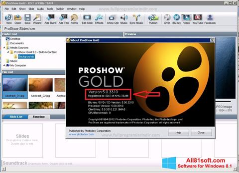צילום מסך ProShow Gold Windows 8.1
