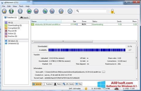 צילום מסך qBittorrent Windows 8.1