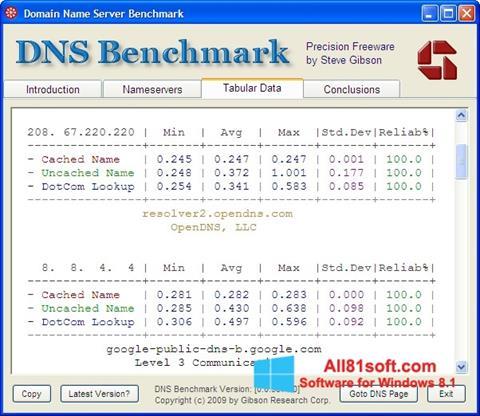 צילום מסך DNS Benchmark Windows 8.1