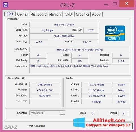 צילום מסך CPU-Z Windows 8.1