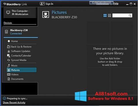 צילום מסך BlackBerry Link Windows 8.1