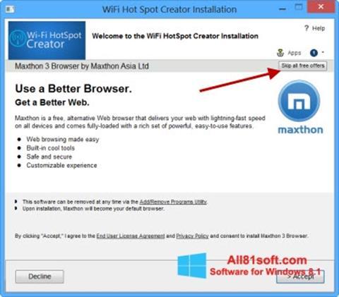 צילום מסך Wi-Fi HotSpot Creator Windows 8.1