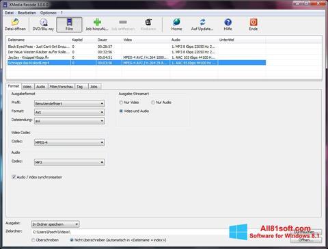 צילום מסך XMedia Recode Windows 8.1