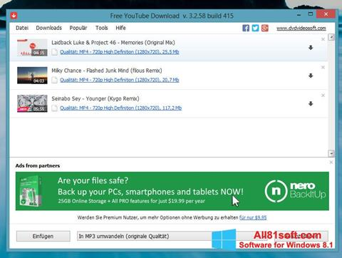 צילום מסך Free YouTube Download Windows 8.1
