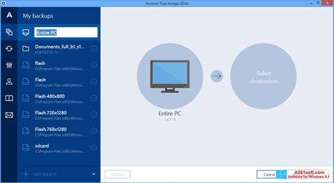 צילום מסך Acronis True Image Windows 8.1