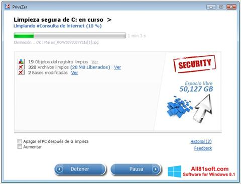 צילום מסך PrivaZer Windows 8.1