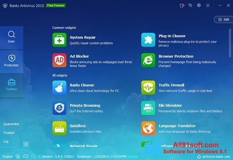צילום מסך Baidu Antivirus Windows 8.1