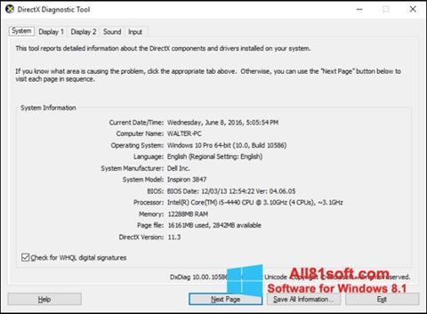 צילום מסך DirectX Windows 8.1