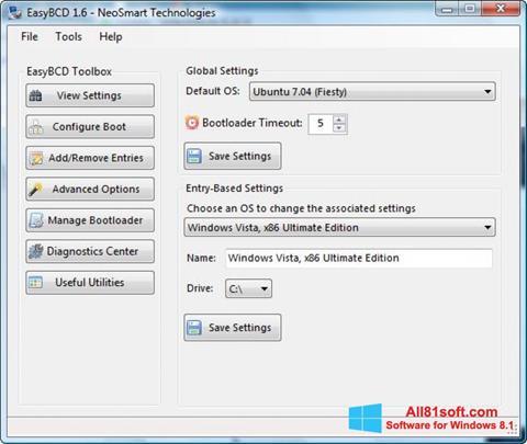 צילום מסך EasyBCD Windows 8.1
