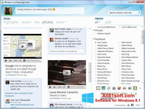 צילום מסך Windows Live Messenger Windows 8.1