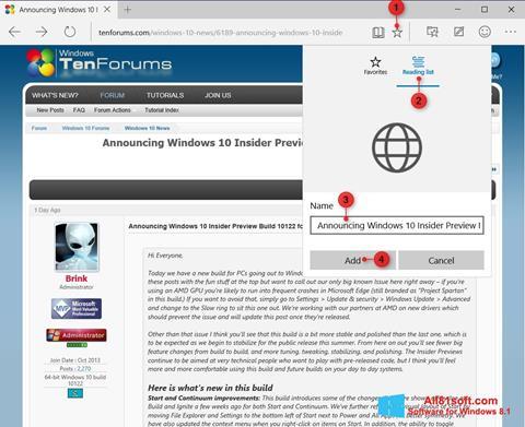 צילום מסך Microsoft Edge Windows 8.1