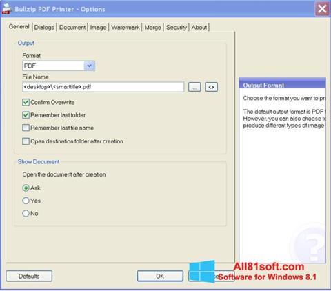 צילום מסך BullZip PDF Printer Windows 8.1
