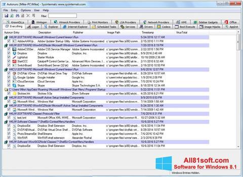 צילום מסך AutoRuns Windows 8.1