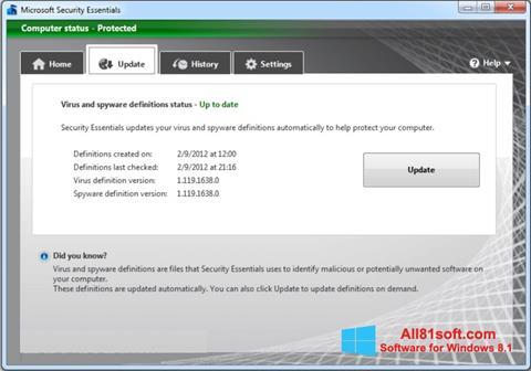 צילום מסך Microsoft Security Essentials Windows 8.1