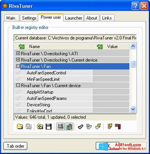 צילום מסך RivaTuner Windows 8.1