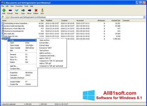 צילום מסך 7-Zip Windows 8.1