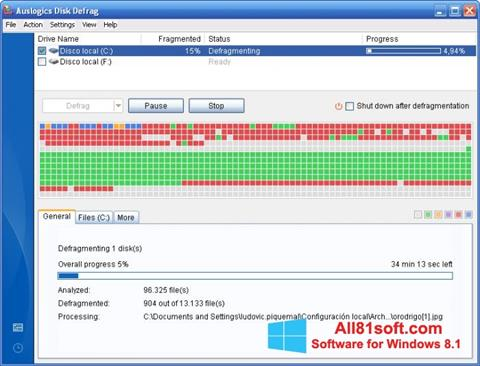 צילום מסך Auslogics Disk Defrag Windows 8.1