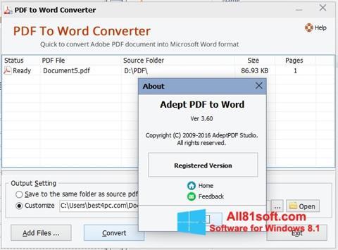 צילום מסך PDF to Word Converter Windows 8.1