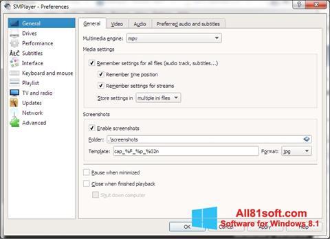 צילום מסך SMPlayer Windows 8.1