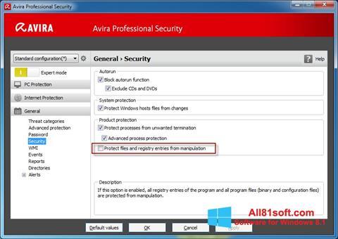 צילום מסך Avira Professional Security Windows 8.1