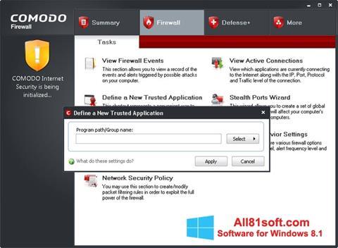 צילום מסך Comodo Firewall Windows 8.1