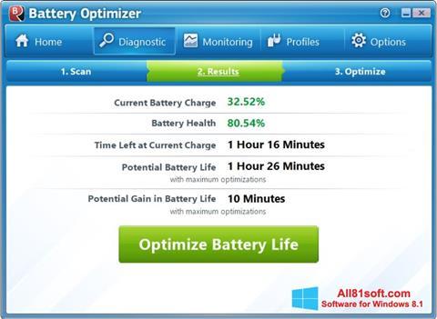 צילום מסך Battery Optimizer Windows 8.1