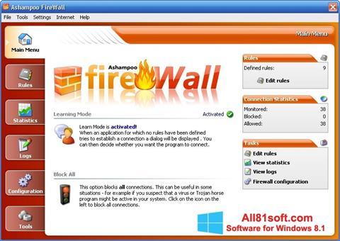 צילום מסך Ashampoo Firewall Windows 8.1