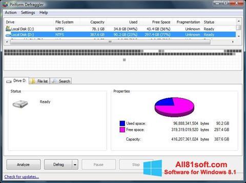 צילום מסך Defraggler Windows 8.1